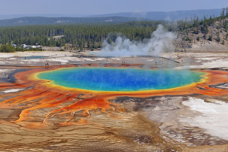 Grand Prismatic Spring at Midway Geyser Basin, Yellowstone National Park, Teton County, Wyoming, USA