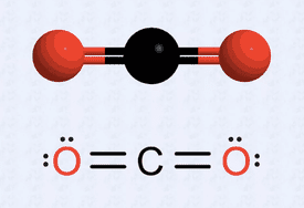 Lewis structure of carbon dioxide along with its ball and stick model.