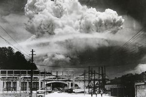 View of the radioactive plume from the bomb dropped on Nagasaki City