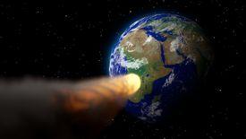Artist rendering of an asteroid hurtling toward Earth.
