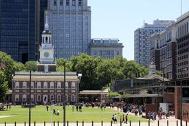 Independence Hall in Philadelphia, which began construction in 1732 and opened in 1753