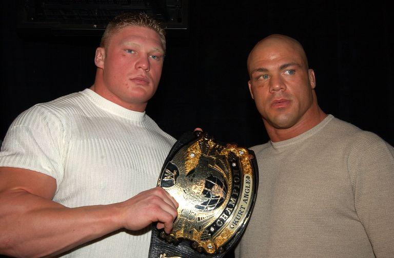 Brock Lesnar and Kurt Angle at the WrestleMania XIX Press Conference