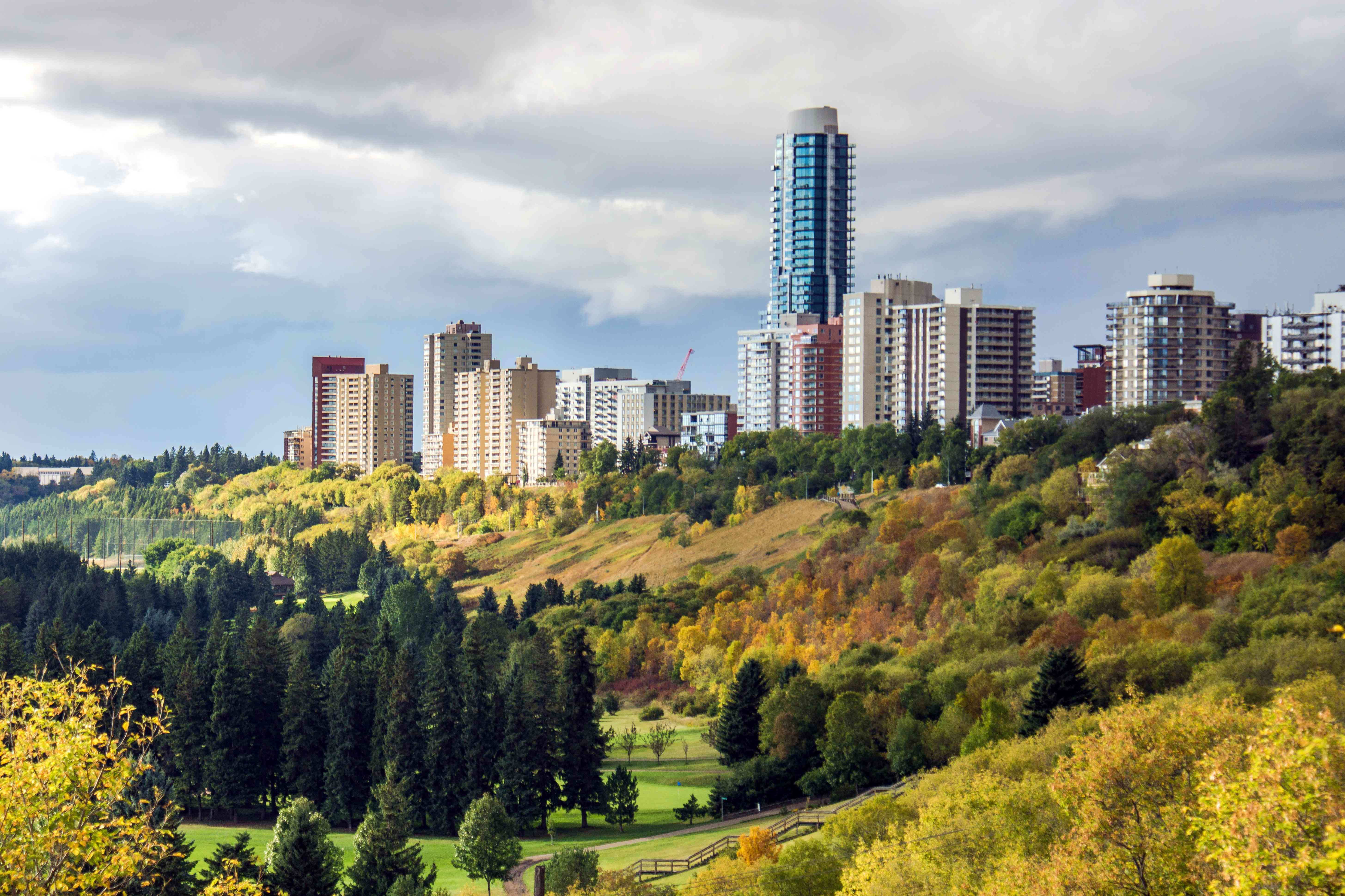 Edmonton cityscape and river valley