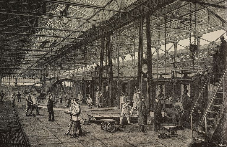 The milling workshop in the Creusot factory, France, illustration of Dietrich from LIndustria, Rivista tecnica ed economica illustrata, Milan, 1890