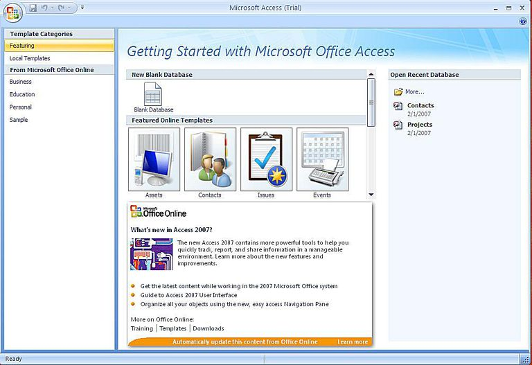 microsoft access business card template 2007 database templates for