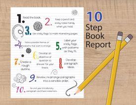 Illustration of book report steps