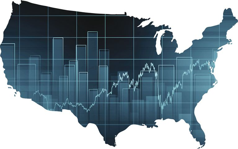 Stock Market Chart Over United States