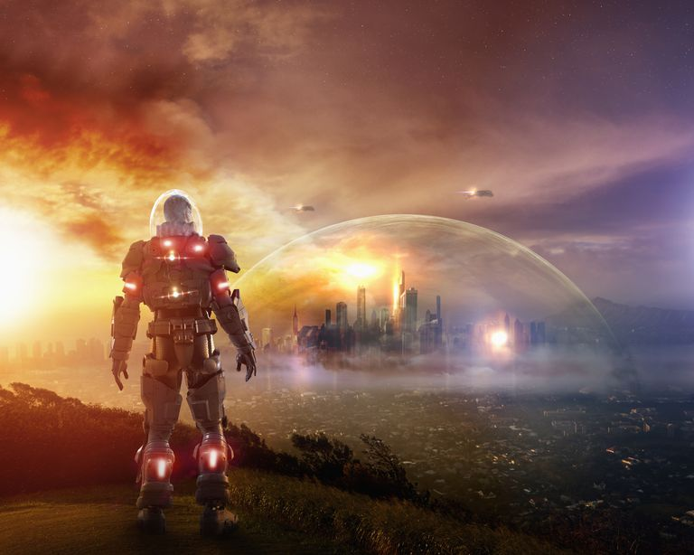 Soldier amidst a dystopian society wearing glowing armor