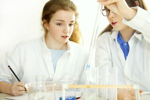 Schoolgirls Experimenting with Alkaline Acid pH at Chemistry Class