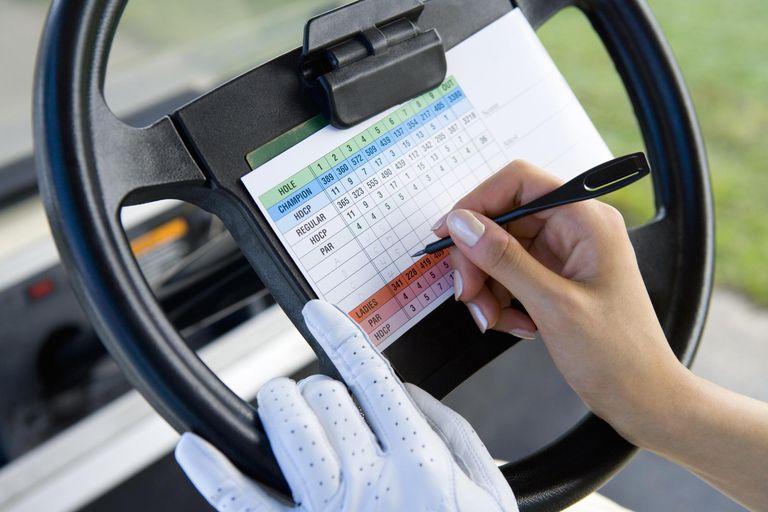 Woman Writing on Score Card