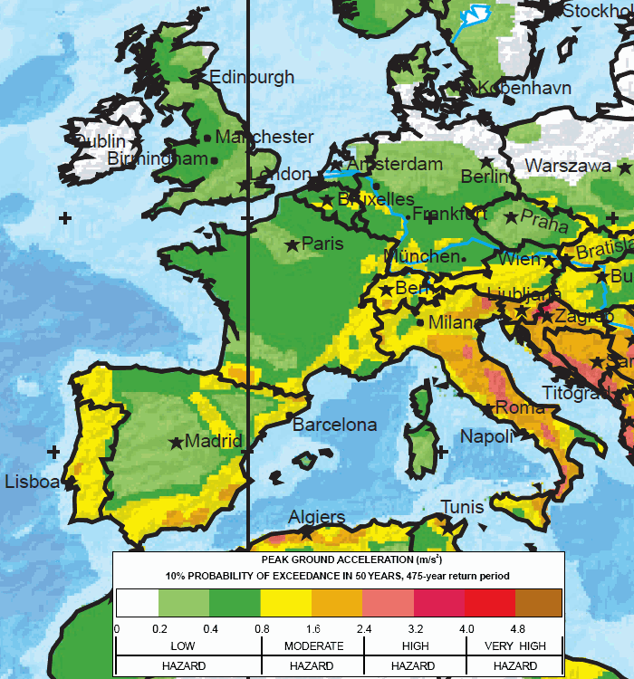Major earthquake zones on each continent western europe map global seismic hazard assessment program gumiabroncs
