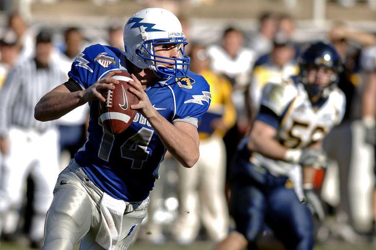 Quarterback on the football field