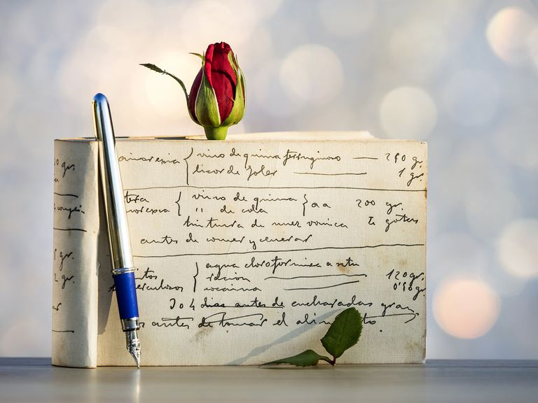 Diary Book Written With Fountain Pen With a Rose