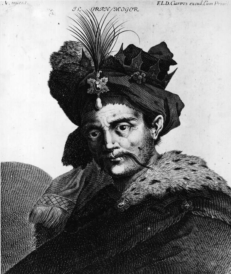 Emperor Babur Portrait in black and white