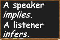 A speaker implies. A listener infers.