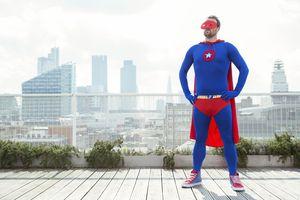 Superhero on a City Rooftop