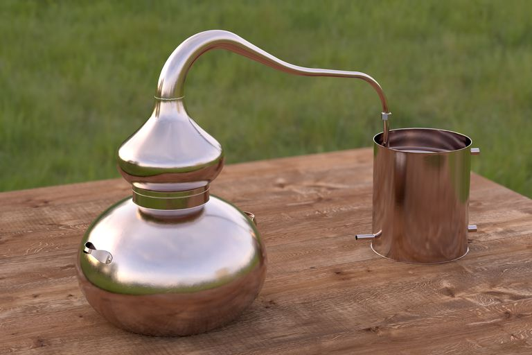 This is an example of a simple home distilling pot. You can steam distill water yourself and store the distilled water in a glass or plastic jug meant to hold water for an extended time.