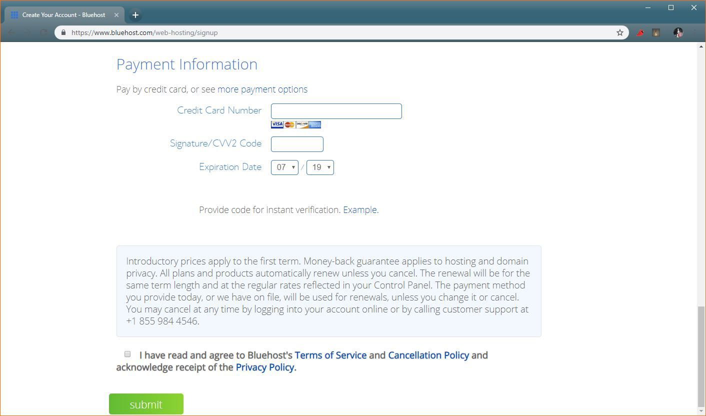A screenshot of the Bluehost billing page.
