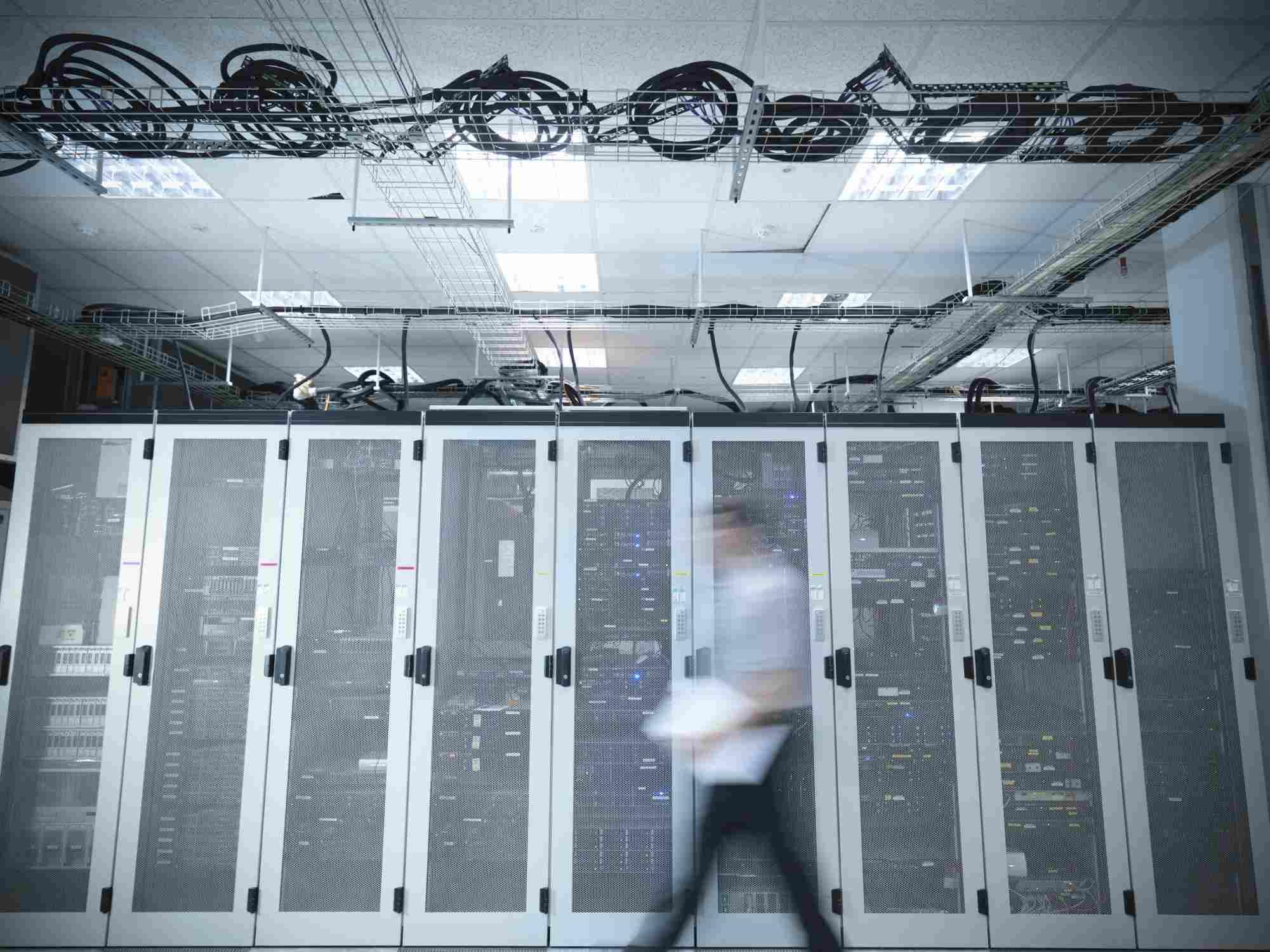 Server racks in a data center