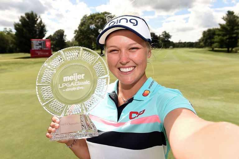Brooke Henderson is pictured with her trophy from the 2017 Meijer LPGA Classic.