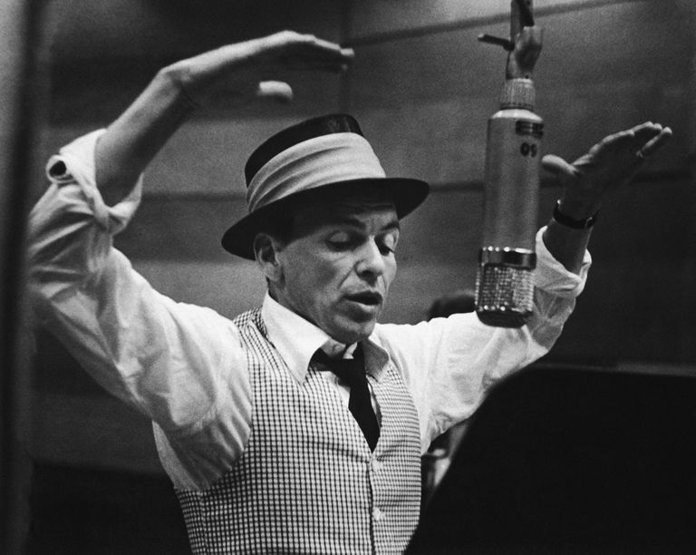 Frank Sinatra during a recording session