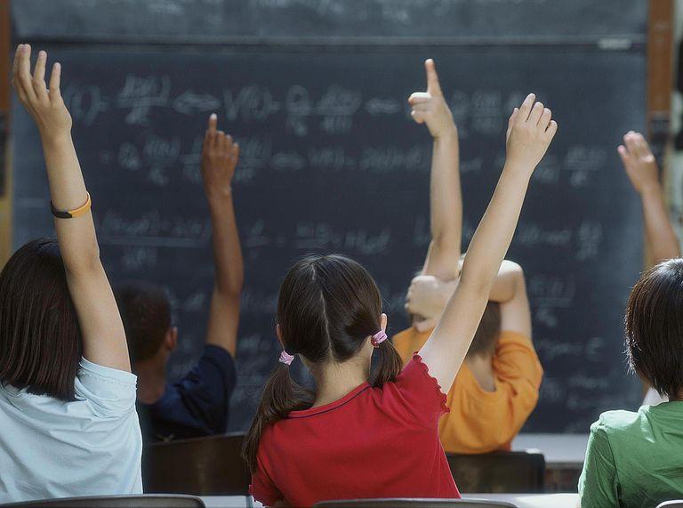 Class of Students Raising Hands