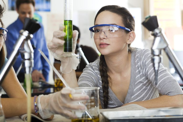 High school student conducting experiment in science class