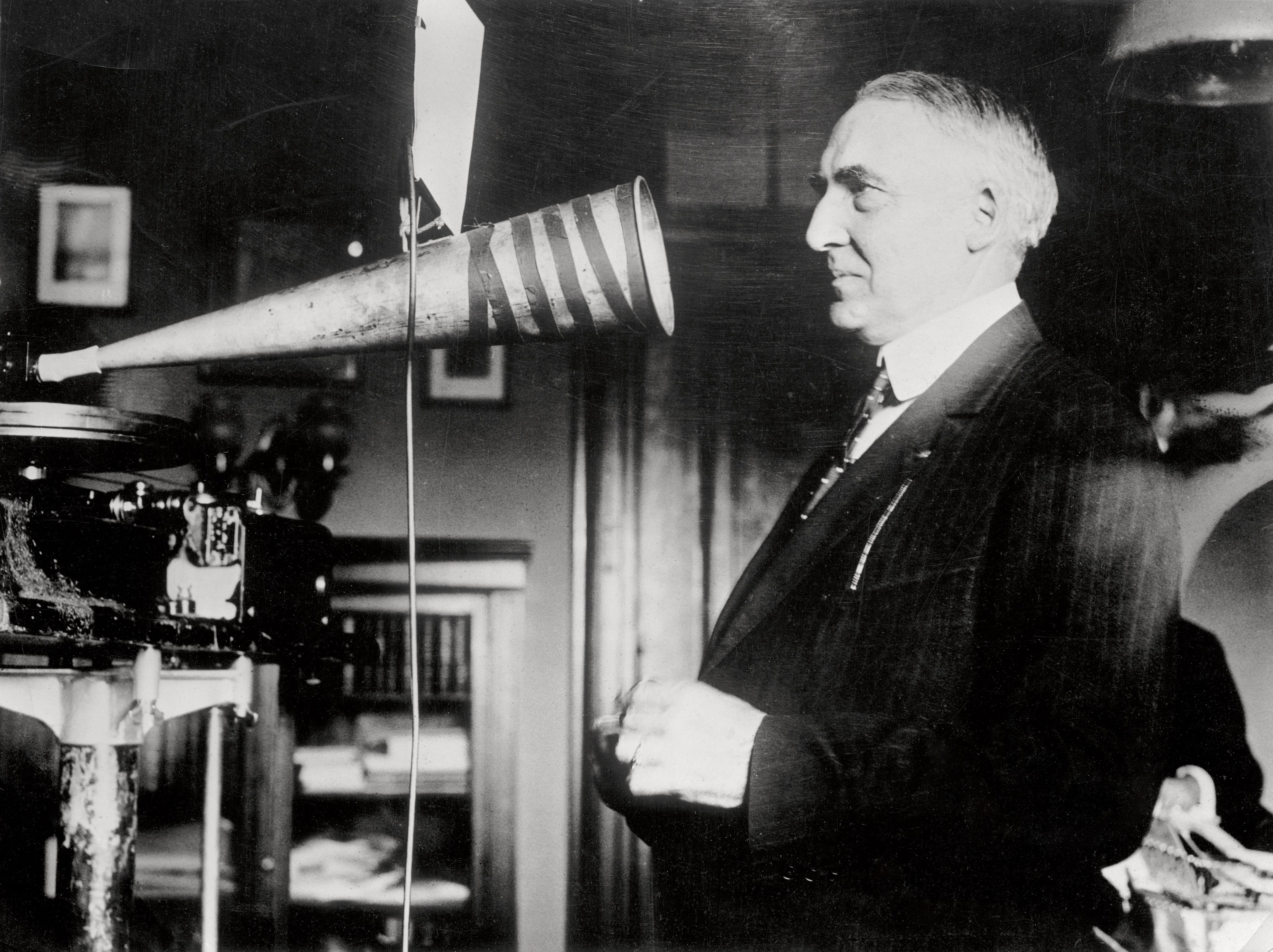 Senator Warren Harding Making a Recording