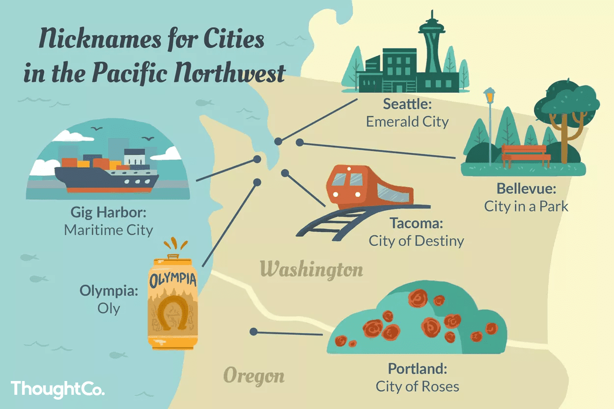 Map of nicknames for cities in the Pacific Northwest