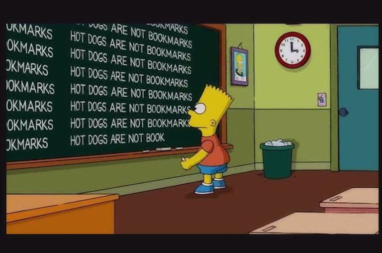 "bart Simpson writing on the chalkboard as punishment ""Hot dogs are not bookmarks"""
