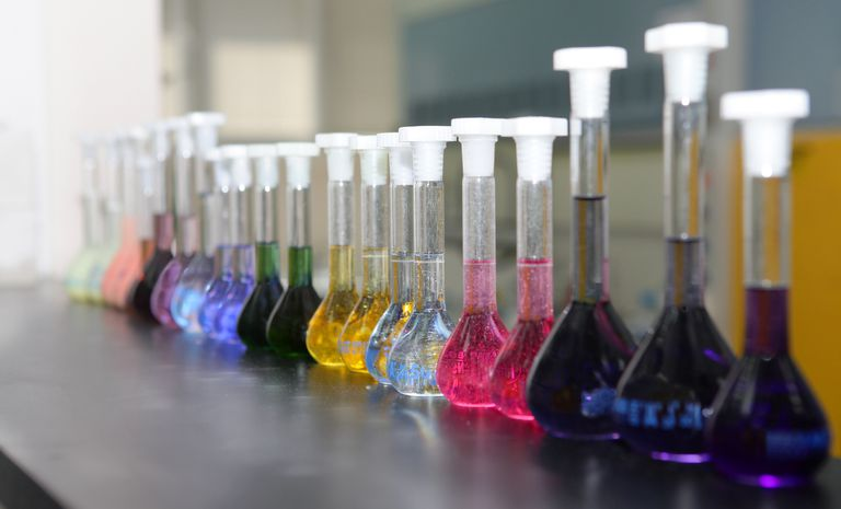 Volumetric flasks are used to accurately prepare solutions for chemistry.
