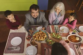 Family eating food