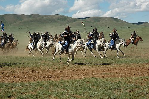 Mongolian riders at a festival