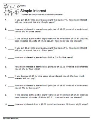 Simple Interest Worksheets With Answers