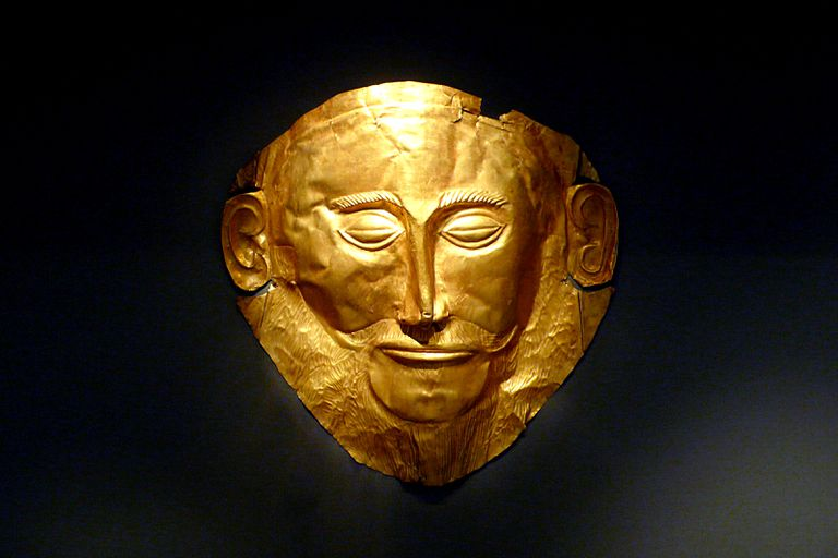 The gold burial mask of known as the Mask of Agamemnon, on display in Athens