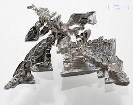 This is a photo of a crystal of pure silver metal, deposited electrolytically.
