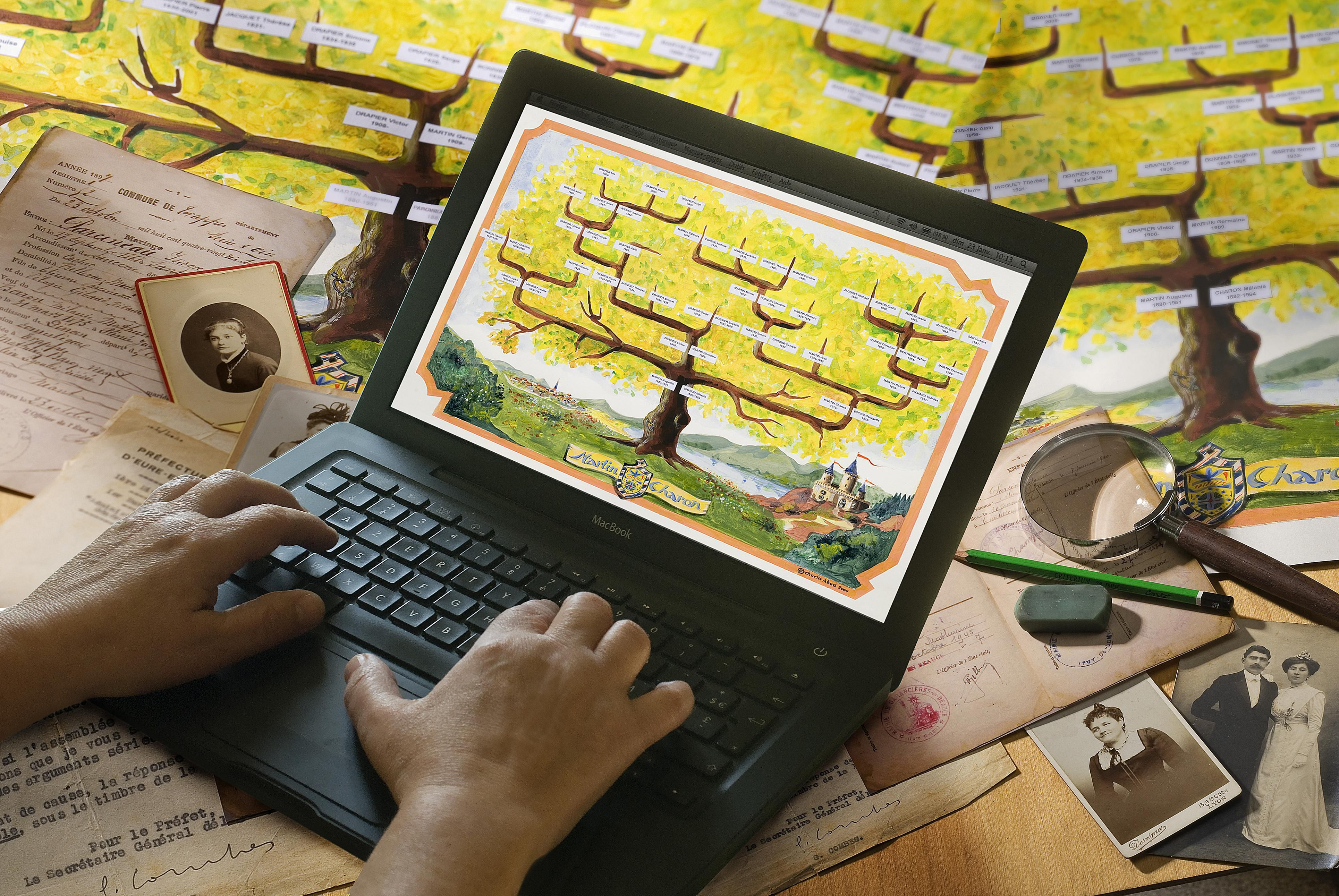Person working on Family Tree document on laptop computer