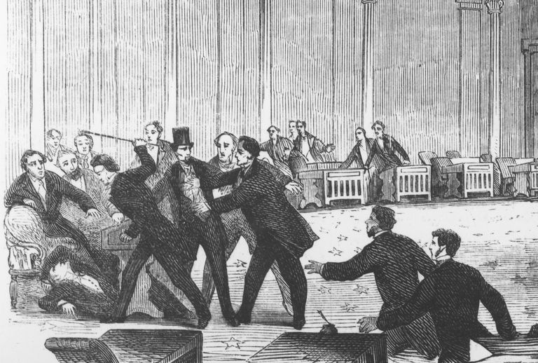 Congressman Preston Brooks attacking Senator Charles Sumner