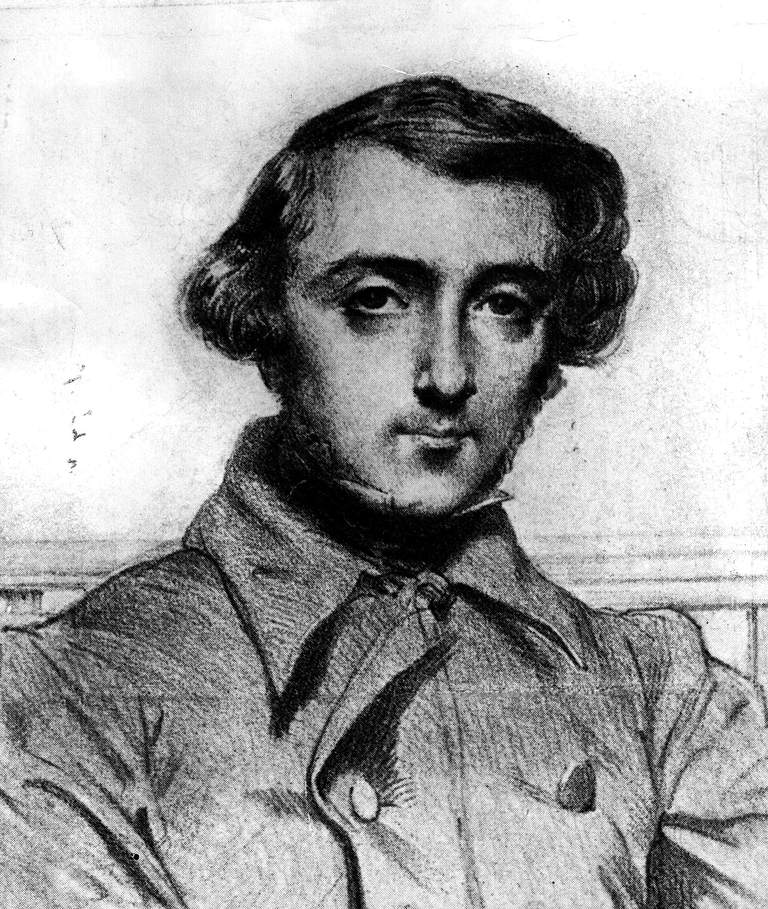 Drawing of Alexis de Tocqueville, French political thinker and historian considered one of the founders of sociology.