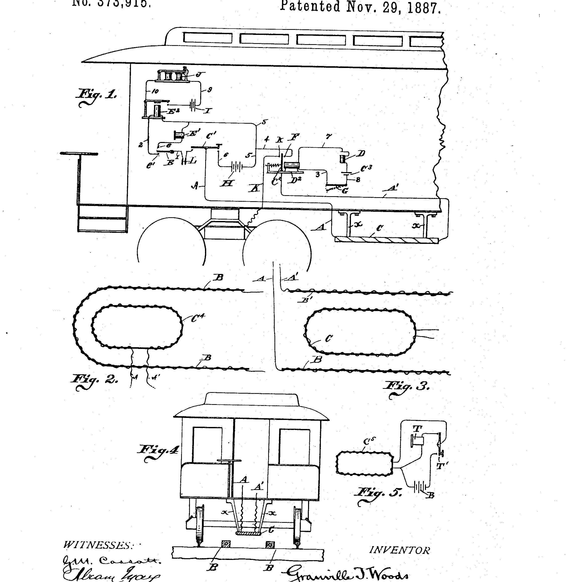 Granville T. Woods' invention for Induction Telegraph System was patented in 1887