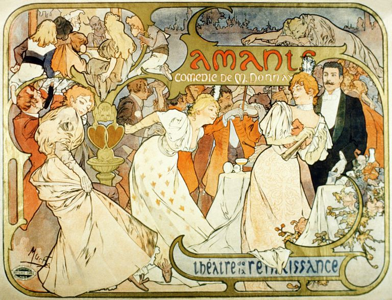Vintage theater poster of Victorian people at a party