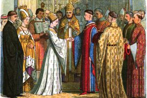 Illustration of the marriage of Henry V to Catherine of Valois