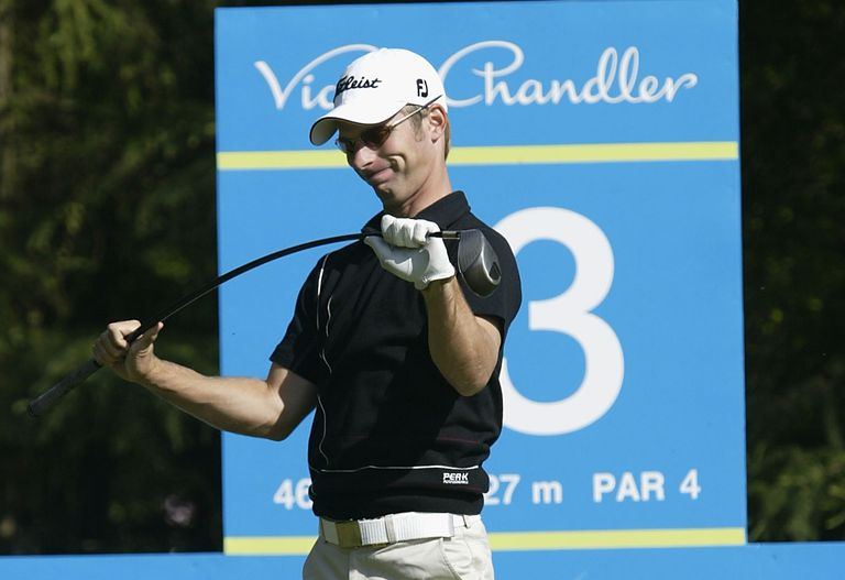 aae026023f70 Richard Johnson flexes the shaft of his club in anger during a European  Tour tournament