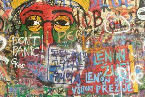 Colorful graffiti on the John Lennon Wall in Prague