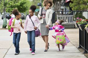 A mixed-race woman walks her daughters to school, signaling the concept of school choice. Find out what two decades of social science research tells us about the impacts of school choice programs.