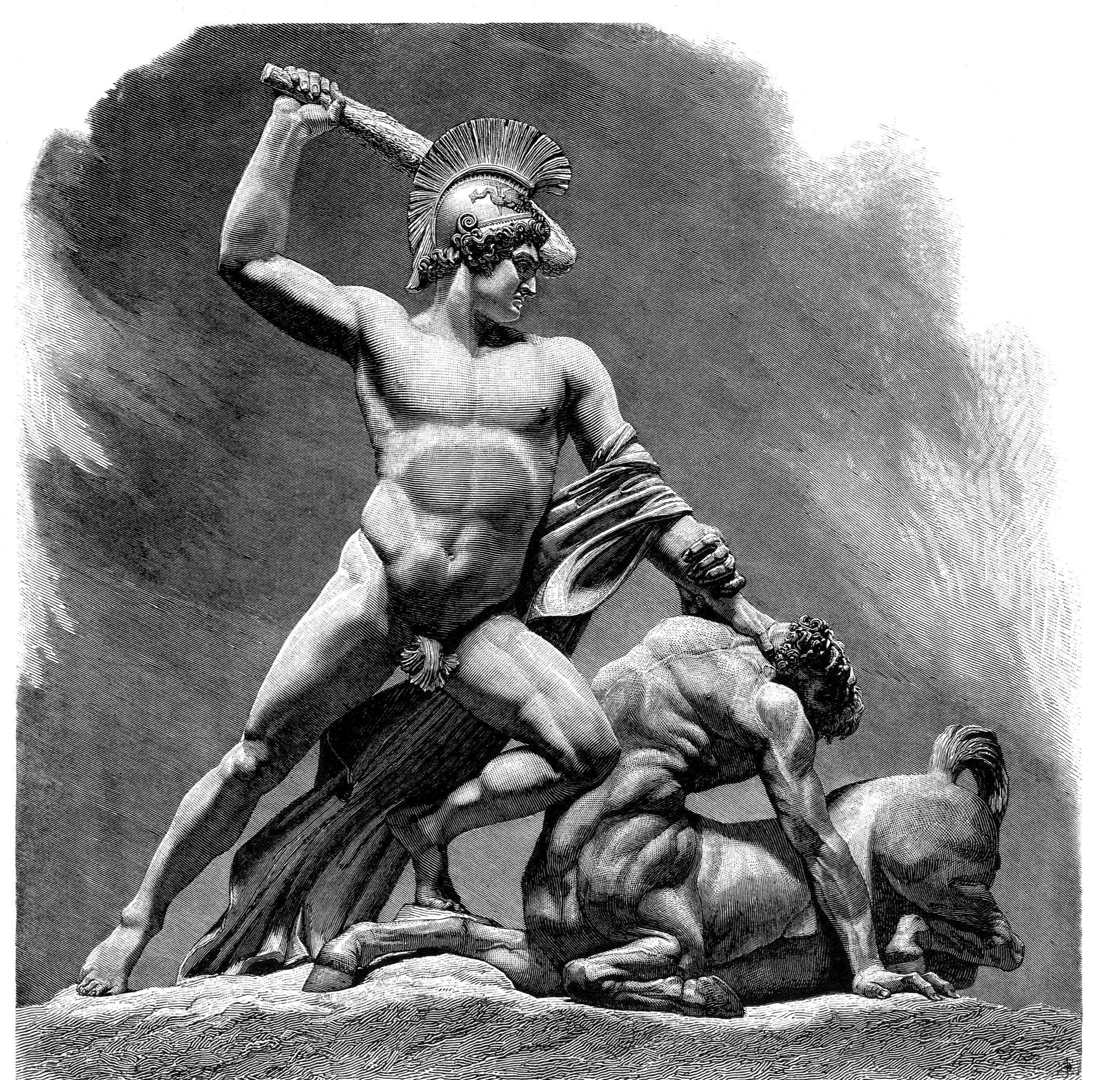 Theseus defeats the centaur.