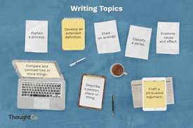 Different writing topics typed on pieces of paper
