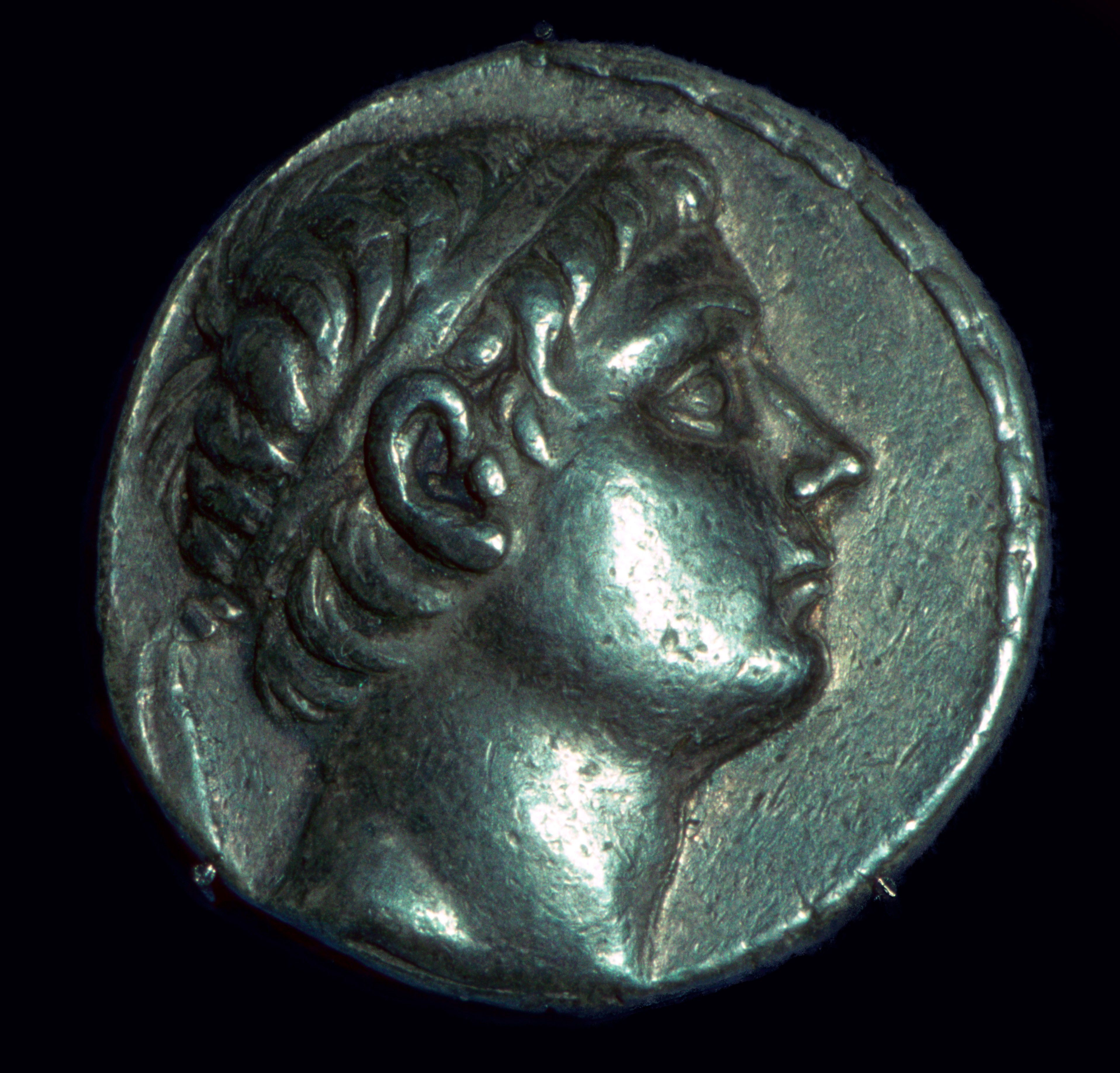 Coin bearing an image of King Antiochus III the Great of Syria (241 to 187 B.C.)