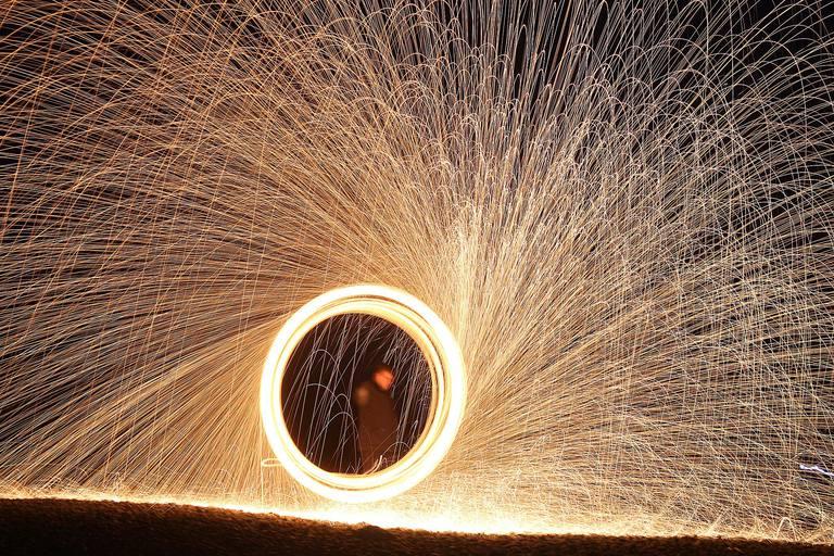 Spinning Steel Wool Sparkler