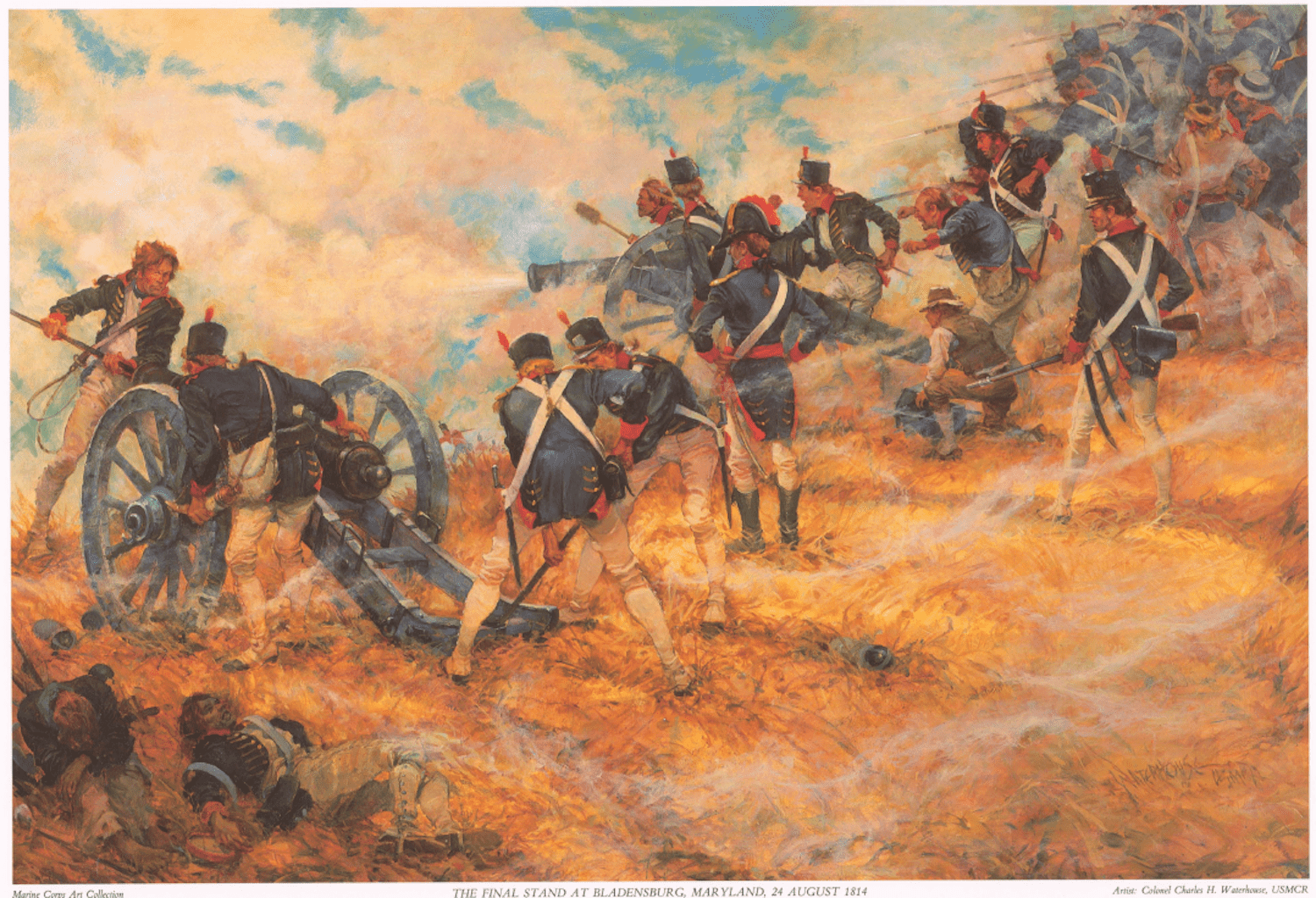 Colonel Charles Waterhouse's painting of the depiction of U.S. Marines manning their guns at Bladensburg, on the boundary of Washington-Maryland